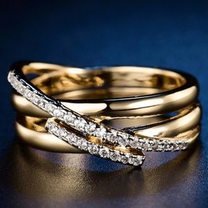 Mosaic CZ gold tome Ring